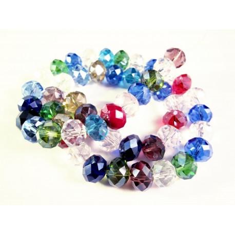 50 geschliffene Glasperlen 10x7mm Strang bunter Perlenmix - buntes Schmuckzubehör
