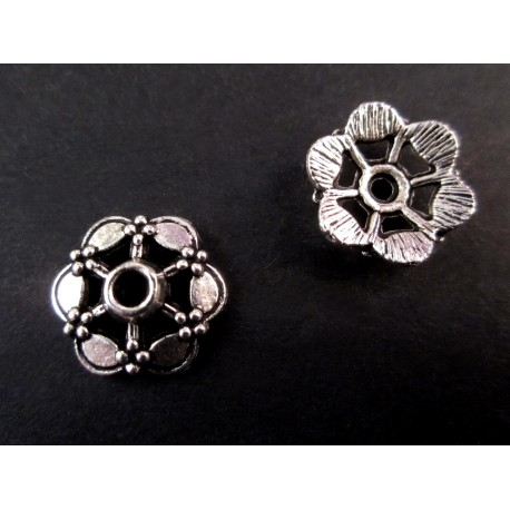 2x große Perlenkappen ca. 15x4mm silberfarbene filigrane Perlen Kappen - Schmuckzubehör Perlenkappe