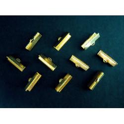 10x gold Bandklemme 20mm goldfarbene Bandklemmen - gold Schmuckzubehör