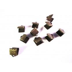 10x bronze Bandklemme 6mm bronzefarbene Bandklemmen - bronze Schmuckzubehör