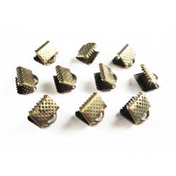 10x bronze Bandklemme 10mm bronzefarben - bronze Schmuckzubehör