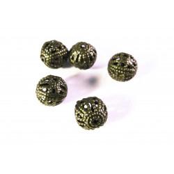 5x filigrane bronze Metallperlen 8mm bronzefarben Kugel Spacer - bronze Schmuckzubehör Metallperle