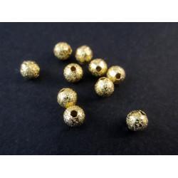 10x angerauhte Metallperlen 4mm goldfarben Kugel Spacer - gold Schmuckzubehör