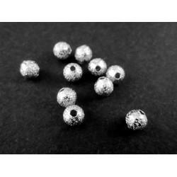 5x angerauhte Metallperlen 4mm hellsilberfarben platinfarben Kugel Spacer - Schmuckzubehör Metallperle