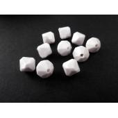 10x weisse 10mm Acryl Rhomben Perlen - Schmuckzubehör Acrylperlen
