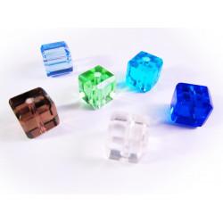 6x Kristallglas Würfelperlen 10x10mm mit geschliffener Kante bunter Perlenmix 10x10mm Cubes - Glasschmuck Schmuckzubehör