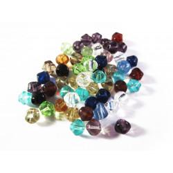 5g 4mm Rhomben Kristallglasperlen als bunter Perlenmix - Glasschmuck Schmuckzubehör