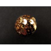1x große 20mm gold Pailletten Perle - Schmuckzubehör