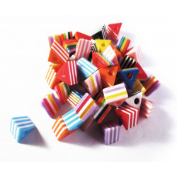 10 bunte gestreifte Dreieck Acryl Perlen 14x14x8mm Perlenmix - Acryl Schmuckzubehör
