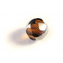 1x 14mm braune geschliffene Kristallglasperle - Schmuckzubehör Kristallglasperlen