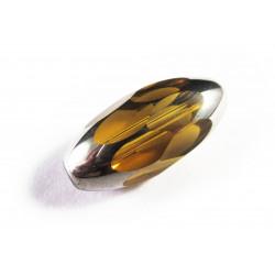 1x große 18x9mm Kristallglasperle topaz silberfarben geschliffen in Olivenform - Schmuckzubehör Kristallglasperlen