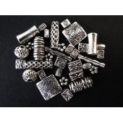 15g Perlenmix 3 silberfarben Metallperlen Spacer - Schmuckzubehör Metallperlen