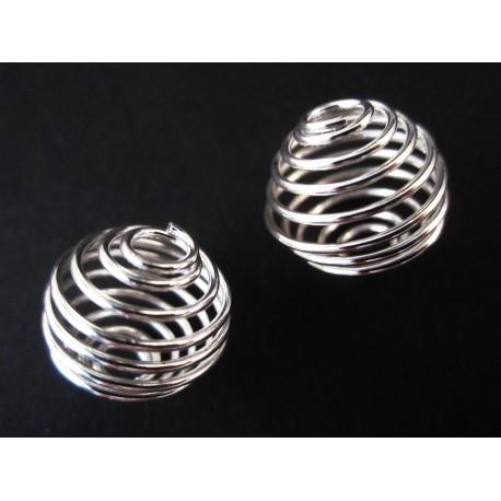 2x versilberte Spiralen Metallperle ca. 14x15mm platinfarben - Schmuckzubehör Metallperlen