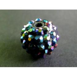 1x blaugrüne Shamballa 16mm Strass Perle mit AB-Effekt - Schmuckzubehör Shamballa