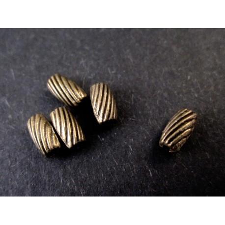 5x Tube Metallperlen bronze 7x4mm bronze Spacer - bronze Schmuckzubehör Metallperle