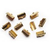 50x Bandklemme 13mm goldfarben - Schmuckzubehör