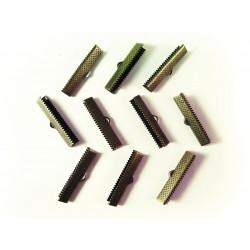 10x bronze Bandklemme 30mm bronzefarben - bronze Schmuckzubehör