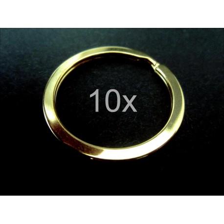 10x Schlüsselring 32mm goldfarben großer vermessingter Schlüsselring stabil und massiv - Schmuckzubehör