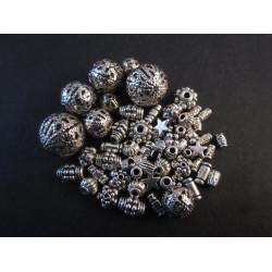 15g Perlenmix 4 silberfarben Metallperlen Spacer - Schmuckzubehör Metallperlen