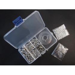 Tibetsilber Schmuckzubehör Set in Sortierbox Karabiner Knebelverschluss Metallperlen etc. - Schmuckzubehör Set