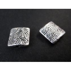 2x silberfarbene 10x10x3mm Metallperlen Viereck / Quadrat Spacer - Schmuckzubehör Metallperle