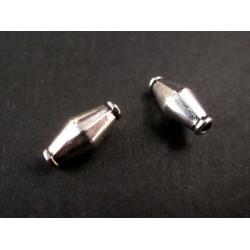 2x Tube silberfarben 12x6mm Metallperlen Doppelkegel Spacer - Schmuckzubehör Metallperle