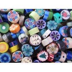 20x 10mm Polymer Clay Blumen Perlen und andere Muster im bunten Mix - Polymer Clay Schmuckzubehör
