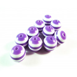 10x lila weiss gestreifte Perlen aus Harz 10mm - Resin Schmuckzubehör