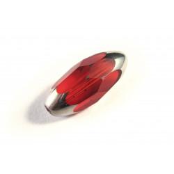 1x große siamrote Perle aus Kristallglas 18x9mm mit Silberenden geschliffen in Olivenform - Schmuckzubehör Kristallglasperlen