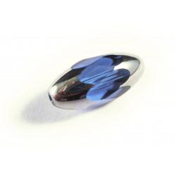 1x große blaue Perle aus Kristallglas 18x9mm mit Silberenden geschliffen in Olivenform - Schmuckzubehör Kristallglasperlen