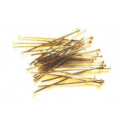 30 gold Nietstifte 30mm goldfarben Schmuckdraht mit Kopf - Schmuckzubehör Nietstifte