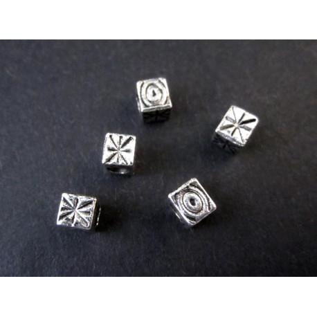 5x silber 5x4mm Metallperlen Würfel Großloch Perlen Quader Spacer - Schmuckzubehör Metallperle