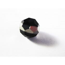 1x 14mm schwarze Kristallglasperle mit Silberstreifen in geschliffener Form - Schmuckzubehör Kristallglasperlen
