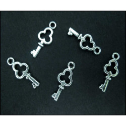 5x Schlüssel silberfarben Schmuckanhänger ca. 6 x 16 mm