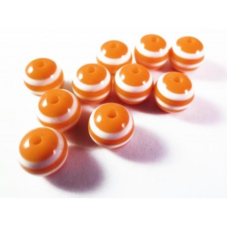 10 orange weiss gestreifte Perlen aus Harz 10mm - Resin Schmuckzubehör