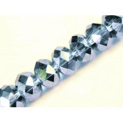 10x hellblaue geschliffene Kristallglasperlen 8x6mm mit Glanz - Schmuckzubehör Kristallglasperlen