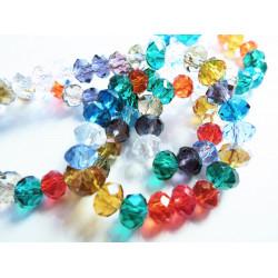 ca. 100 St. 6x4mm geschliffene Kristallglasperlen Strang bunter Perlenmix - buntes Schmuckzubehör