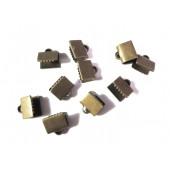 10x glatte bronze Bandklemme 7mm bronzefarben - bronze Schmuckzubehör