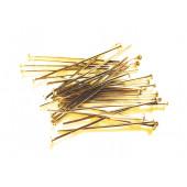 30 gold Nietstifte 40mm goldfarben Schmuckdraht mit Kopf - Schmuckzubehör Nietstifte