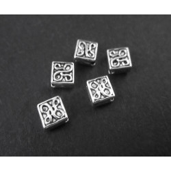 5x silber 4,5x4,5mm Metallperlen diagonal Quadrat Perlen Spacer - Schmuckzubehör Metallperle