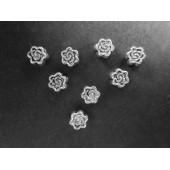 5x silberfarbene 5x5mm Metallperlen Rosenmotiv Spacer - Schmuckzubehör Metallperle