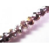 10x Lila Kristallglasperlen geschliffene 8x6mm mit AB-Effekt - Schmuckzubehör Kristallglasperlen
