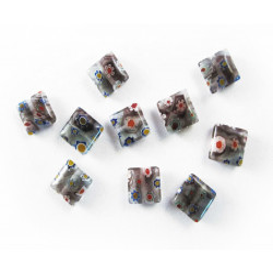 10x Graue Millefiori Perlen quadratisch 10 x 10 mm