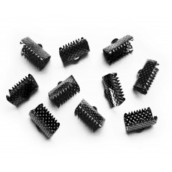 10x gunmetal Bandklemme 13mm schwarzmetallfarben - gunmetal Schmuckzubehör
