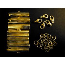 10x gold Bandklemmen 30mm + 5 Karabiner + 10 Biegeringe als Schmuckzubehör Set für Halsbänder - Schmuckzubehör Set
