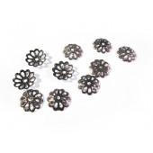 10x filigrane bronze Perlenkappen ca. 8mm bronzefarbene runde Perlen Kappen - Schmuckzubehör bronze Perlenkappe