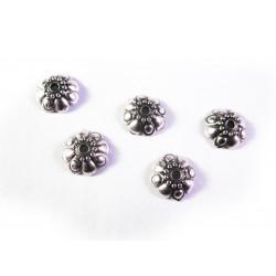 10x flache Perlenkappe ca. 9x3mm aus Acryl in silberfarben - Schmuckzubehör Perlenkappe