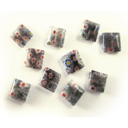 10x Graue Millefiori Perlen quadratisch 8 x 8 mm