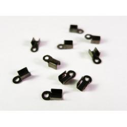 20x metallschwarze Endkappe 6x3mm schwarze Lederband Klemme - Schmuckzubehör Endkappe