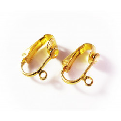 2 Stück / 1 Paar SUPER gold Ohrclips ca. 12x16mm goldfarben - Schmuckzubehör zum Ohrclips selbermachen